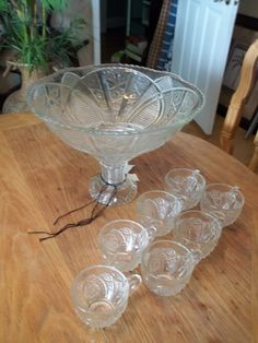 Punch Bowl Set Pedestal Style EAPG 1950's by 3sisterstreasures, $42.49 Just reduced! Perfect party or wedding set!