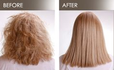 Brazilian Blowout before and after. This treatment is more for smoothing the hair shaft and obtaining a shinier look than for truly straightening. Call us for more info: 419-7789.