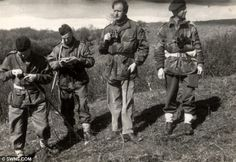 On a mission: Captain Riding (second from the left) training in Ayrshire for an SAS mission to France in 1944. He he escaped death on two occasions when German troops discovered the SAS camps and obliterated them  Read more: http://www.dailymail.co.uk/news/article-2279222/History-WWII-hero-unlocked-inside-picnic-basket-revealing-founding-members-SAS.