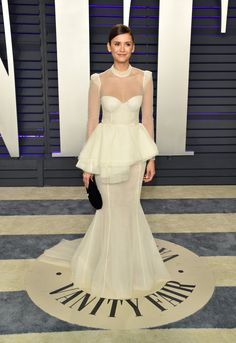Oscars, Celebrity Dresses, Celebrity Style, Celebrity Babies, Peplum Gown, New Street Style, Vanity Fair Oscar Party, Nina Dobrev, White Outfits