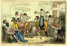 © The Trustees of the British Museum  Dandies dressing. 1818  Hand-coloured etching  Isaac Robert Cruikshank