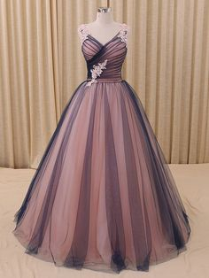 Navy Blue Princess Tulle Ball Gown Formal Evening Dress