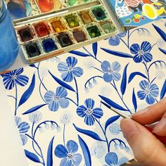 Painting blue florals for fun this morning at a cozy Swedish café! #watercolor…