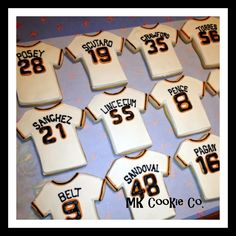 "SF Giants Jerseys from the ""MK Cookie Company"". What a great idea for your next Giants-themed get-together!"