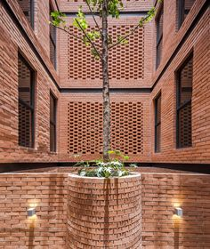 Brickwork panels alternate with gaps up the sides of this project in Mexico City, which HGR Arquitectos organised around a line of patios at the centre. Brick Masonry, Brick Facade, Brick And Wood, Brick And Stone, Brick Design, Facade Design, Brick Architecture, Architecture Details, Chinese Architecture