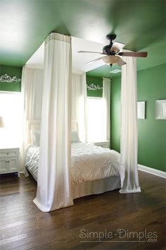 Simple Dimples: Emerald Green Bedroom.. hang from the ceiling and create a dramatic bed