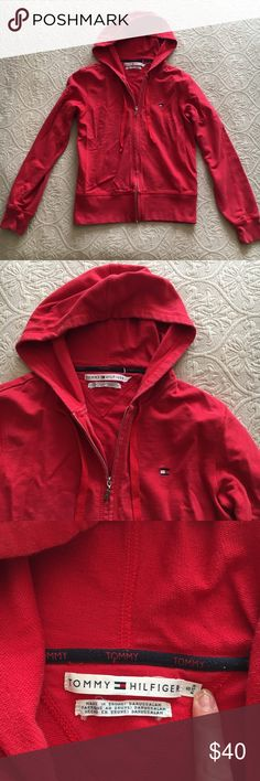 Tommy Hilfiger Red Zip Hoodie with Logo Tommy Hilfiger Red Zip Hoodie with Logo. Size Small.  Pre-owned with light fading, overall great condition! Super cute, sporty and trendy.  Great condition! Tommy Hilfiger Jackets & Coats