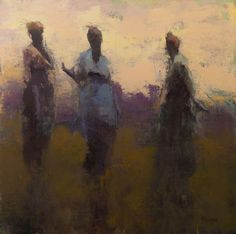 "Art by Cathy Hegman -- Story Tellers; 2015; oil on panel; 30"" x 30"", 31"" x 31"" framed [CH 72]"