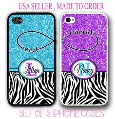 MIX BLUE PURPLE PINK TEAL ZEBRA BFF BEST FRIENDS CASES For iPhone 6S 6 SE 5S S7 #UnbrandedGeneric