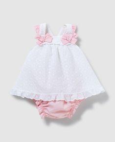 Vestido de bebé niña blanco con lazos y volantes