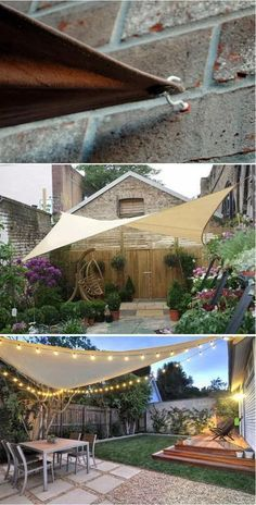 A SHADE SAIL CANOPY easily provides cool patio space with a beautiful look. To build it, just need three points up to four to secure the shade. Cup hooks and S hooks are also easy to get. garden ideas 10 Exciting DIY Ideas to Build a Shady Space for Patio Backyard Shade, Backyard Patio Designs, Diy Patio, Patio Table, Shade Ideas For Backyard, Patio Shade Sails, Shade For Patio, Oasis Backyard, Deck Shade