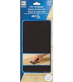 """Fine Sandpaper 3 - 2/3""""X9"""" 3/Pkg - 400 Grit"""
