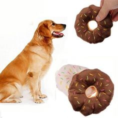 11cm Funny Pet Dog Chew Throw Toys Cute Donuts Puppy Cat Squeaker Squeaky Plush Sound Toys 1PC CY1