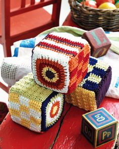 Crochet baby blocks are here to help baby with motor skills! This would be great for all those gauge/practice squares lying about. Crochet Baby Toys, Crochet For Kids, Diy Crochet, Crochet Style, Crochet Blocks, Crochet Squares, Baby Blocks, Crochet Stitches Patterns, Stuffed Toys Patterns