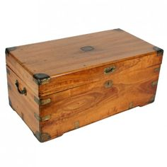 Antique Victorian brass bound camphor wood trunk or chest. This late century antique camphor wood trunk is available to buy now online. Toy Storage Boxes, Diy Storage, Storage Ideas, Chest Furniture, Wood Furniture, Pallet Trunk, Light Wood Texture, Wooden Trunks, Campaign Furniture