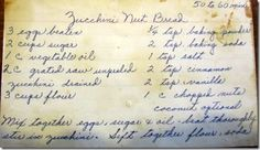 Family Recipe Friday - Aunt Ruth's Zucchini Nut Bread #geneabloggers #genealogy