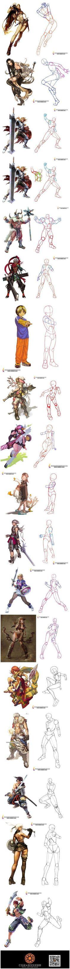 骨骼提炼案例,帮助人体不好的同学,化繁为...@原画梦采集到作画教程(359图)_花瓣插画