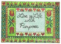 A Life With Purpose Fraktur Aceo Word Print  by by THEODORADESIGNS, $5.00