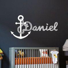 Wall Decals For Boys Personalized Name Anchor Decal Vinyl Sticker Boy Nautical Nursery Bedroom Decor Home Interior Design Art Mural vk62