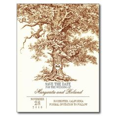 Brown old oak tree elegant rustic save the date postcard with carved wood heart and initials.