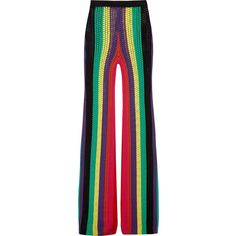 Balmain Striped open-knit flared pants ($2,230) ❤ liked on Polyvore featuring pants, green, balmain, striped trousers, pull on pants, balmain pants and colorful pants