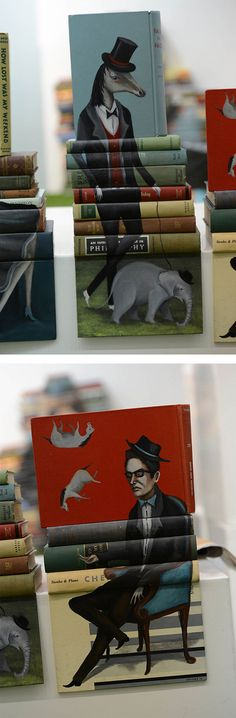 872b art Painted Book Sculptures by Mike Stilkey