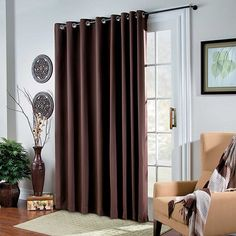room darkening grommet top patio panel chocolate 54 aud liked on sliding door - Curtains For Sliding Doors