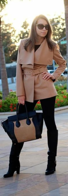 Autumn/Winter Chic. Beautiful camel coat paired with Celine bag.