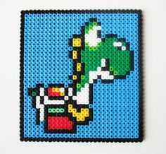Yoshi Super Mario Wall Hanging - Nintendo Perler Bead Retro Video Game Decoration or Coaster via Etsy