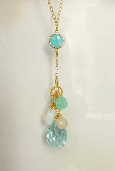 Long Cluster Necklace - Beach Resort Jewelry - Long Gemstone Necklace - Teardrop Dangle Necklace - Chalcedony Quartz Necklace. $49.00, via Etsy.