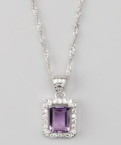 Take a look at this Sterling Silver & Amethyst Rectangle Pendant Necklace by Vir Jewels on #zulily today!