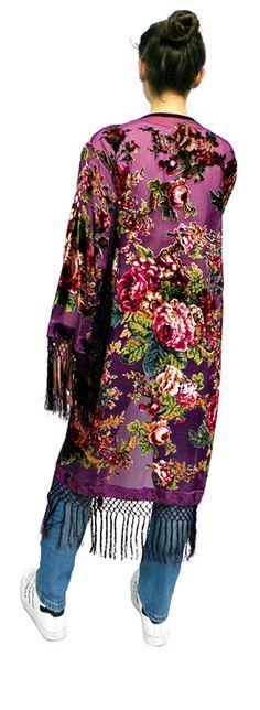 kimono de seda y terciopelo devore Julunggul www.julunggul.com