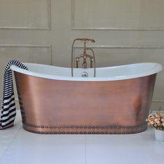 by Malaga copper bathtub. Stone Bathtub, Cast Iron Bathtub, Copper Bathtub, Square Bathtub, Small Bathtub, Freestanding Bathtub, Luxury Spa, Luxury Bath, Roll Top Bath