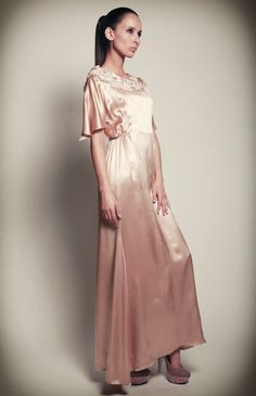 shop unique fashion and accessories from around the world High Class Fashion, Satin Gown, Unique Fashion, Nightwear, Ready To Wear, Cold Shoulder Dress, Gowns, Couture, Silk