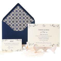 Classic wedding invitation with elegant pattern in navy blue and beige: Padua. Invitación de boda clásica y elegante en azul marino. www.azulsahara.com