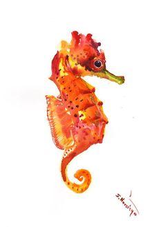 Seahorse art, Original watercolor, yellow, orange, red art, marine, wall art, sea world, seahorse, seahorse gift, watercolor artwork by ORIGINALONLY on Etsy #watercolorarts