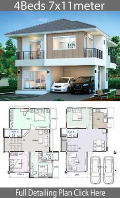 House design plan with 4 bedrooms – Home Ideas Guest room / library below a bit smaller, but kitchen larger. House design plan with 4 bedrooms – Home Ideas Two Story House Design, 2 Storey House Design, Bungalow House Design, House Front Design, Small House Design, Minimalist House Design, House Plans Mansion, Duplex House Plans, Family House Plans