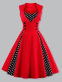 $18.36 Women Retro Polka Dot Insert Swing Dress