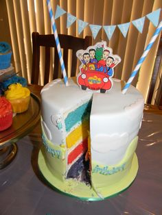 Inside Wiggles cake, wiggles colours separated by buttercream filling Wiggles Birthday, Wiggles Party, 2 Birthday Cake, 2nd Birthday Parties, Baby Birthday, Birthday Candles, Birthday Ideas, Wiggles Cake, The Wiggles