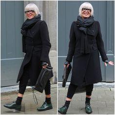 Street style in Antwerp.  Coat: Ann Demeulemeester Shoes: Sofi d'Hoore