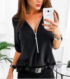 ef1dff1f16b Sexy Women s Shirts with Short Sleeve Zipper. Plus Size ...