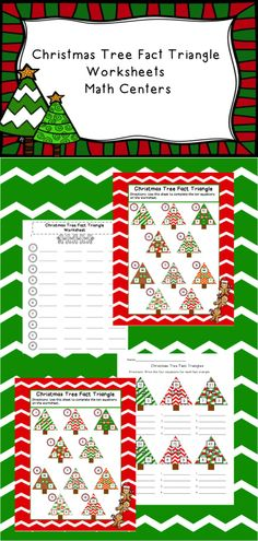 Addition, Subtraction, Multiplication, and Division Christmas Tree Multiplication and Division Fact Triangles worksheet! Includes having the students create equations from the fact triangles. Blank fact triangle page included! Perfect for centers!