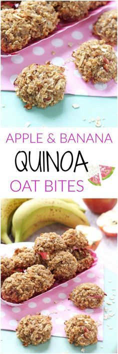 Healthy Snacks For Kids Delicious mini bites made with four simple ingredients, soft and chewy so perfect for baby led weaning and toddlers too. Quinoa Bites for Kids! Easy Meals For Kids, Toddler Meals, Kids Meals, Toddler Food, Meals For Babies, Baby Food Recipes, Snack Recipes, Healthy Recipes, Kid Recipes