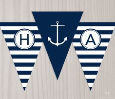 Preppy Nautical Birthday Banner, INSTANT DOWNLOAD Printable PDF Happy Birthday Banner, Anchor Banner, Bunting Flags, Navy Blue and White by DearHenryDesign on Etsy https://www.etsy.com/listing/189921699/preppy-nautical-birthday-banner-instant