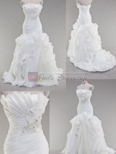 Mermaid/Trumpet Satin Strapless Wedding Dress with Ruffles and Bead  I love the top of the dress!