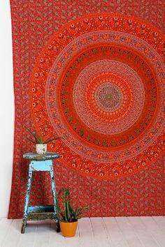 Magical Thinking Orange Medallion Tapestry
