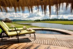 This suite is a luxurious thatched rondavel. This suite is round, from the bed to the bath and the pool plus deck, think circular! Hartford House, Kwazulu Natal, Country Decor, Sun Lounger, Interior And Exterior, Countryside, Places To Go, Outdoor Decor, South Africa