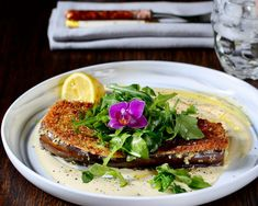 The eggplant was simple yet elevated with its silky interior and crunchy exterior. The sauce was intriguing, creamy, and mustardy. Fresh peppery green arugula provided the perfect balance to the fried eggplant. Steak Recipes, Sauce Recipes, Steak Restaurant Style, Late Night Food, Flower Food, Short Ribs, Edible Flowers, Arugula, Steaks
