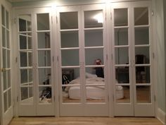 Mirrored French doors in bedroom French Closet Doors, French Doors Bedroom, Bedroom Doors, Master Bedroom, Master Suite, Modern French Country, French Country Bedrooms, French Country Decorating, Country Blue
