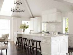 white Kitchen. large island